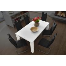 ELKE 140x90-es MAGASFÉNYŰ FEHÉR asztal BŐVÍTHETŐ