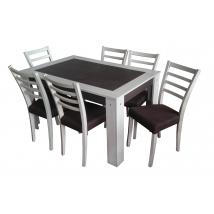ALINA 6+1 Étkező Ferrara Tölgy/Barna (Alina asztal/Alina szék)