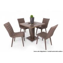COCKTAIL asztal sötét avellino színben, 4db világosbarna ANTON székkel