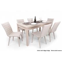 BERTA asztal 160-as sonoma színben, 6db világos beige ANTON székkel