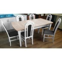 CIPRUS 170+2x35 cm Étkezőasztal SONOMA TÖLGY lap + FEHÉR lábak + 6 db PIANO szék FEHÉR