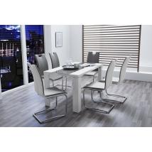 AHAUS 140x80-as MAGASFÉNYŰ FEHÉR asztal 6 db GENF szürke székkel