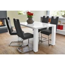 ELKE 120x90-es MAGASFÉNYŰ FEHÉR asztal 4db LARA fekete székkel