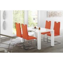ELKE 120x90-es MAGASFÉNYŰ FEHÉR asztal 4db EUGEN narancssárga székkel