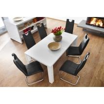 ELKE 140x90-es MAGASFÉNYŰ FEHÉR asztal 6db LARA fekete székkel