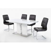 GOETEBORG 160-as MAGASFÉNYŰ FEHÉR asztal 4db MALTE fekete székkel