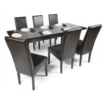 BERTA étkező 6+1 (Wenge - sötétbarna Textilbőr) - BERTA asztal