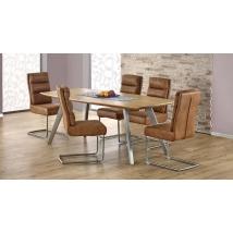 GOLIAT 160x90-es kőris színű fix asztal, 6 db K207 barna székkel
