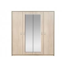 FIGARO gardróbszekrény 200 cm 4 ajtós / tükrös - AKÁC - NYÍLÓAJTÓS