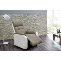 TUCSON TV fotel fehér textilbőr / antik barna 440-07 / 469-08