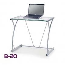 B-20 számítógépasztal, üveg asztallappal