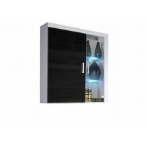 SAMBA (R-4) Függesztett szekrény fali vitrin FEHÉR - FEKETE magasfényű