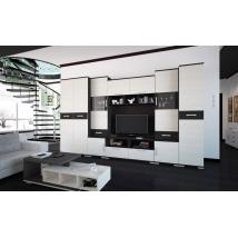 BASEL szekrénysor 355 cm-es, nero - bianco színben, LED VILÁGÍTÁSSAL