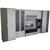 BIG-TREND szekrénysor 400 cm-es CANTERBURY - SANTANA Tv-s polcos hátfallal LED NÉLKÜL