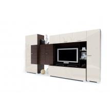 TWIN szekrénysor 375 ZEBRANO - MAGASFÉNYŰ BEIGE + LED világítás