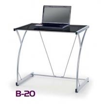 B-20 számítógépasztal, fekete üveg asztalappal