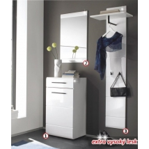 DERBY Előszoba összeállítás Fehér Magasfényű színben (komód+tükör+fogas panel)