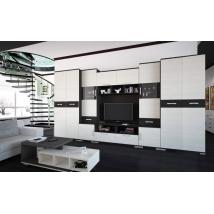 BASEL szekrénysor 400 cm-es, nero - bianco színben, LED VILÁGÍTÁSSAL